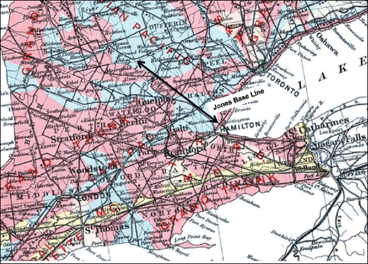 Map - Ontario Showing Jones Baseline