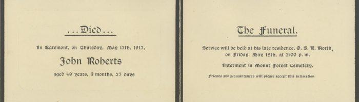 John Roberts Memorial Card