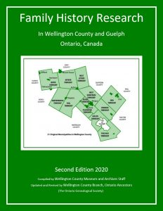 Graphic - Family History Research in Wellington County and Guelph book cover